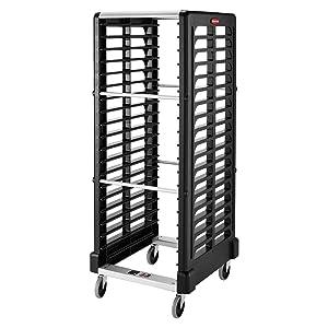 Rubbermaid Commercial Products Max System Food Service Storage/Food Box Racks, Dual-Slot, 18-Slot, Black (FG332400BLA)