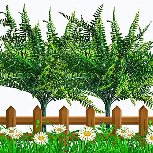 10 PCS Artificial Fern Plants, Faux Boston Fern Bush, Fake Indoor Outdoor UV Resistant Greenery Shrubs, Plastic Grass…
