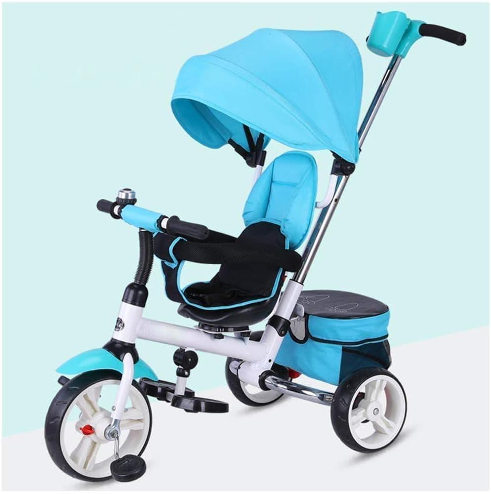 AJH Niños Triciclo 3 Wheeler, niños Trike Triciclo Mi Primer Paseo para niños Los niños pequeños Trike Paseo en el Pedal Multicolor al Aire Libre de la Bici del Cuerno 3 en 1
