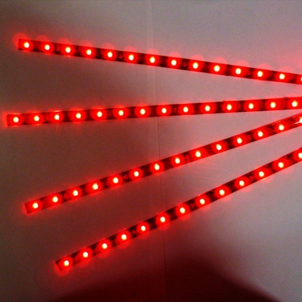Rouge 4Pcs Qiorange 4 X Rouge 15 Led v/éhicule automobile calandre 30cm de voiture bande de lumi/ère underbody souple imperm/éable DC 12V