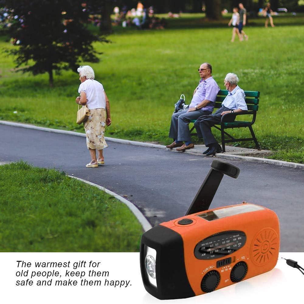 Asucway Emergency Radio Portable Hand Crank Solar Radio,AM//FM NOAA Weather Radio with LED Flashlight 1000mAh Power Bank for iPhone//Smart Phone Charger