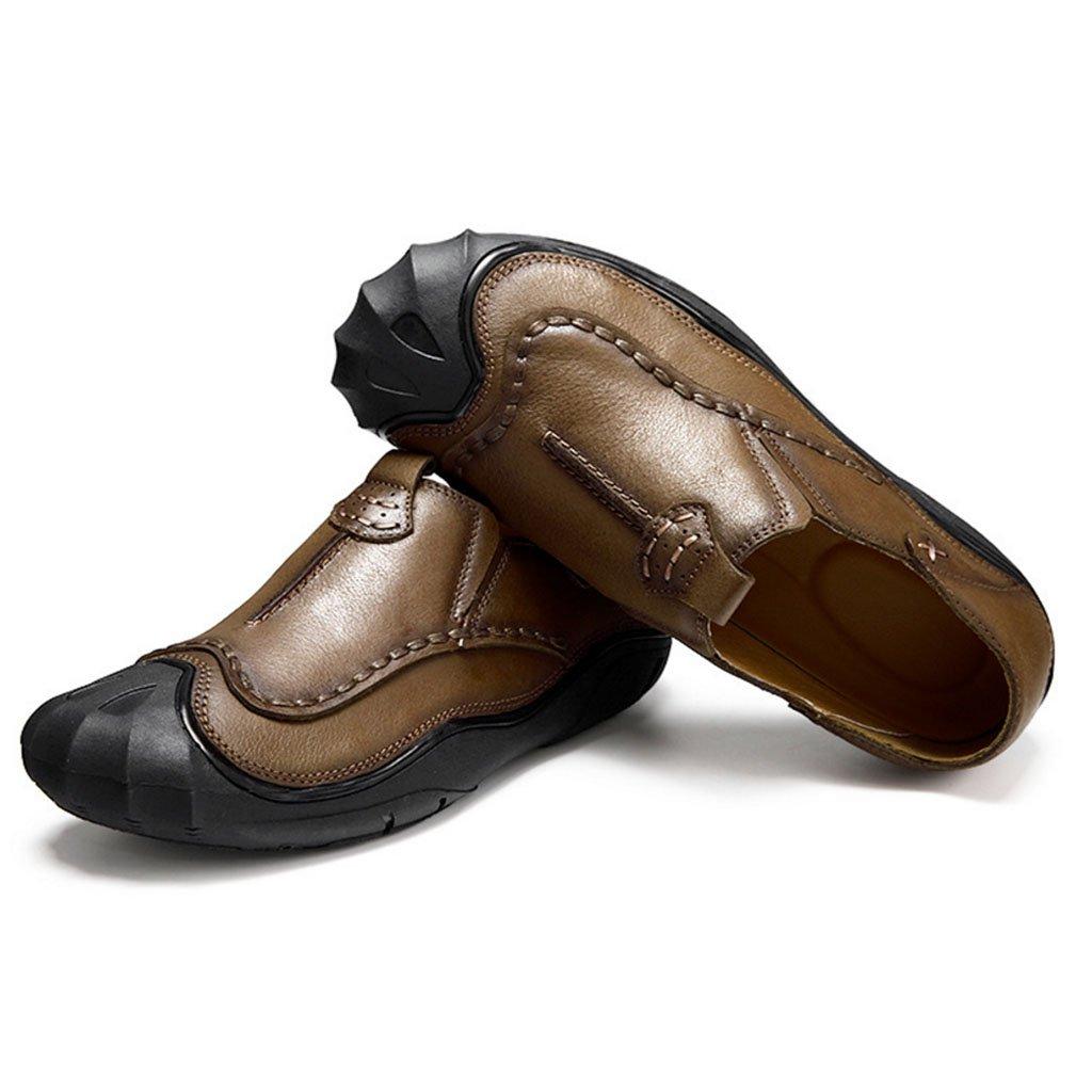 Zapatos de cuero planos de los hombres Moda Primavera Verano Zapatos de conducción de otoño Comfort Mocasines y Slip on Zapatos para caminar Junta dividida para oficina informal GAOLIXIA ( Color : Khaki , tamaño : 44 ) 44|Khaki