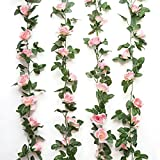 GreenDec 2PCS(16FT) Vintage Artificial Silk Rose Garland Artificial Flowers Plants Vine for Home Kitchen Wall Floral Decor,Pink