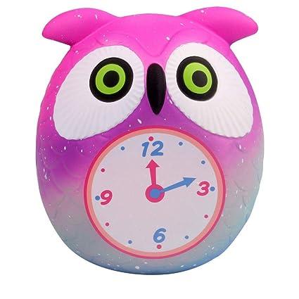 ZHRUI Juguetes para aliviar el estrés Reloj búho de dibujos animados de Kawaii Crecimiento lento Diversión