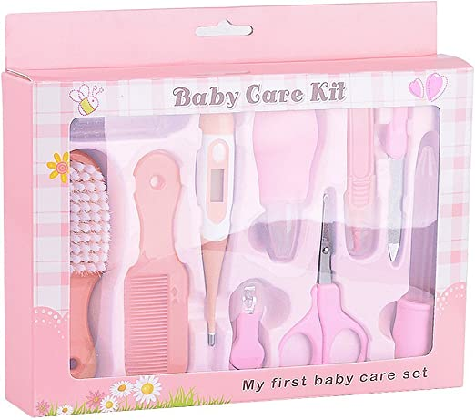 Bolsa de aseo bebé – 10 pieces niños cuidado completo Kit de cuidado bebé color rosa: Amazon.es: Hogar