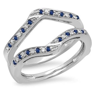 42acdfc2074bb Amazon.com: Dazzlingrock Collection 14K Gold Round Blue Sapphire ...