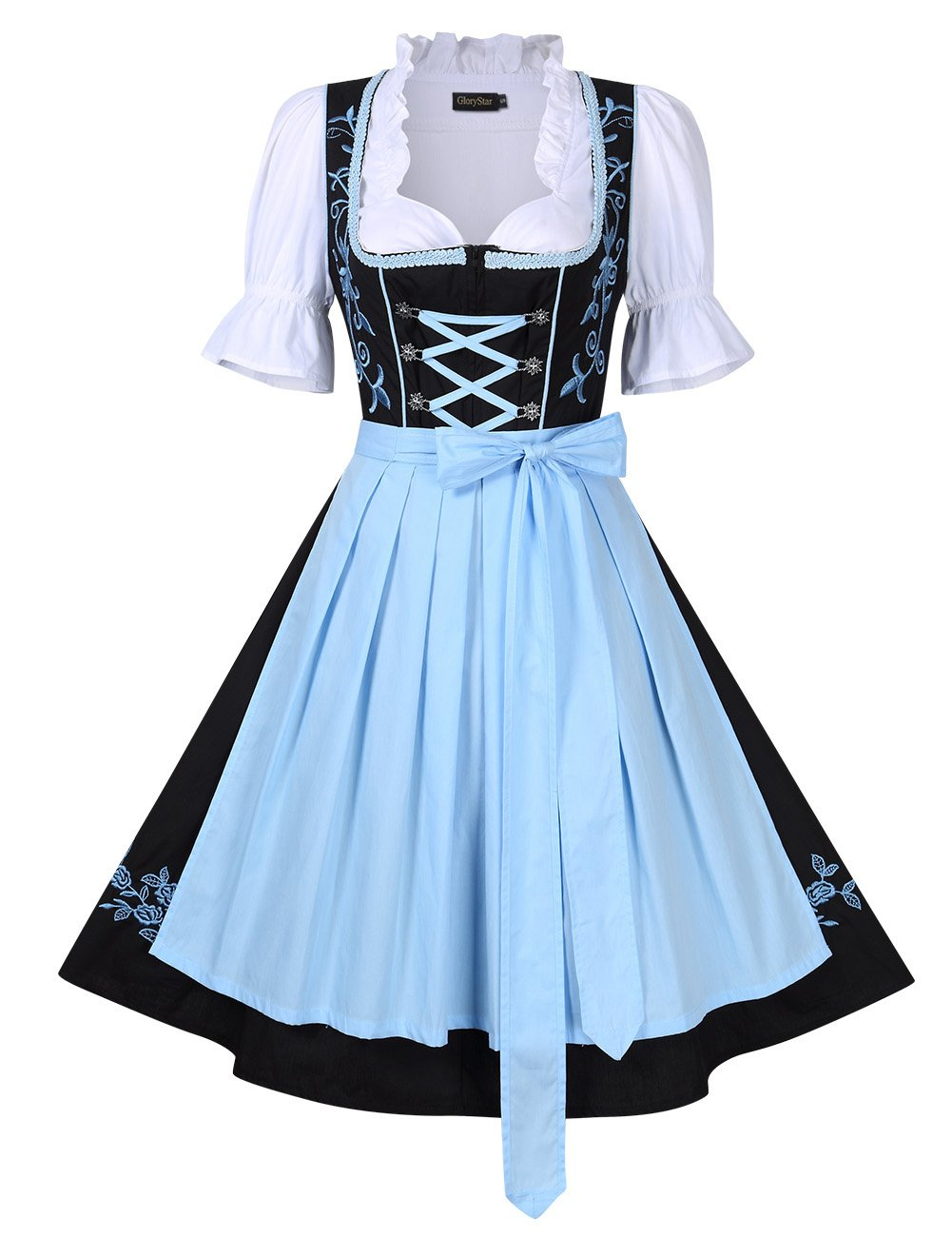 Leoie Women's Beer Festival Stylish Dress Suit Short Sleeve A Swing Holiday Party Dress for Oktoberfest Black with Blue 34