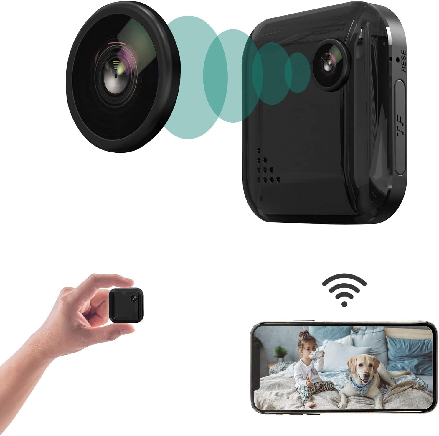 Spy Camera Mini Hidden Camera 1080P Wireless Spy Cam, Portable WiFi Nanny Cam with Night Vision, Motion Detection, Security Surveillance Cameras Audio & Video Recording for Live Remote View