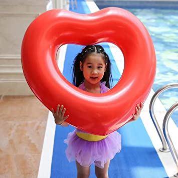 Sealive Love Heart Pool Float for Kids, Inflatable Swimming Ring Water Fun  Party Supplies, Summer Gifts Pool Beach Toys
