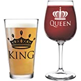 King Beer Queen Wine Glass- 16 oz. Pint Glass, 12.75 oz. Wine Glass - Cool Present Idea for Wedding, Anniversary, Newlyweds, and Couples- Mom and Dad, Him or Her, Mr. Mrs. (Set of 2)