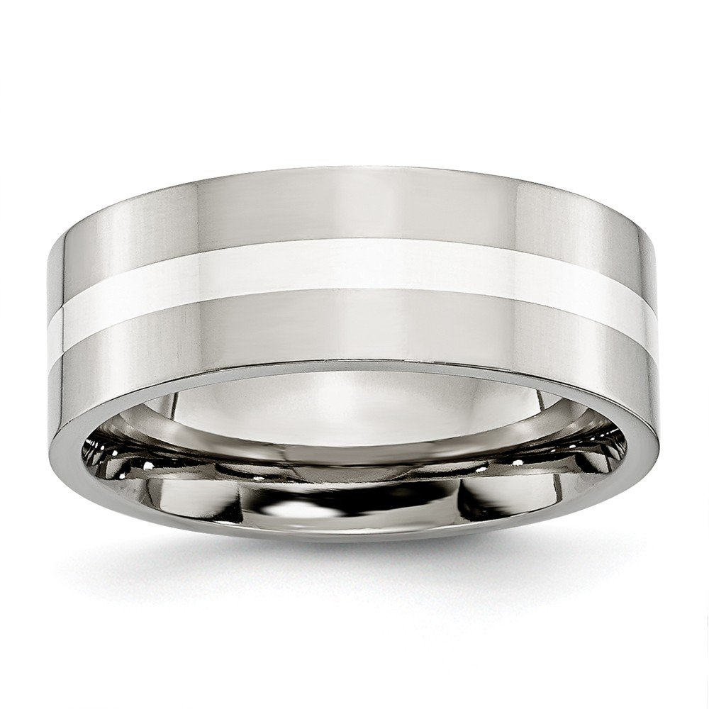 13.5, Jay Seiler Stainless Steel Sterling Silver Inlay Flat 8mm Polished Band Size