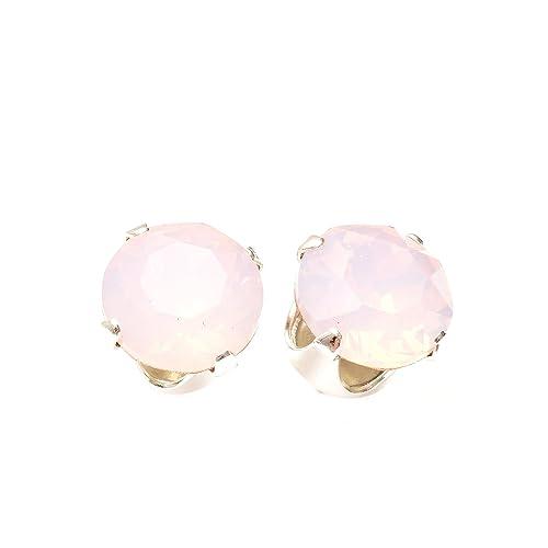 53930515a58d 925 aretes de plata hechos a mano con cristales de color Rose Water Opal  brillante de SWAROVSKI®.  pewterhooter  Amazon.es  Joyería