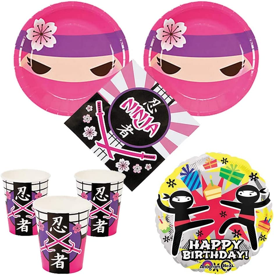 Pink Ninja Girl Party Supplies 16 guests - cake plates, napkins, cups, bonus balloon
