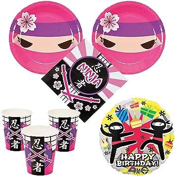 Pink Ninja Girl Party Supplies 16 guests - cake plates, napkins, cups, bonus balloon