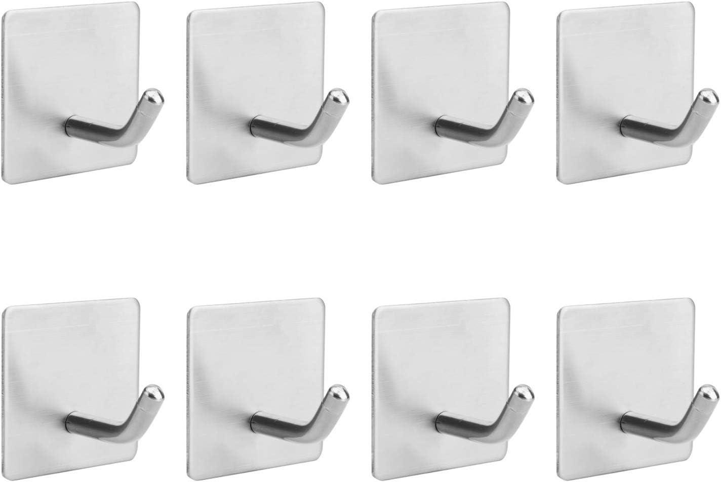 Cabinet Closet Hedume 8 Pack Adhesive Hooks 304 Stainless Steel Waterproof Hangers Hooks for Hanging in Bathroom Heavy Duty Stick on Wall and Door Home Door Kitchen