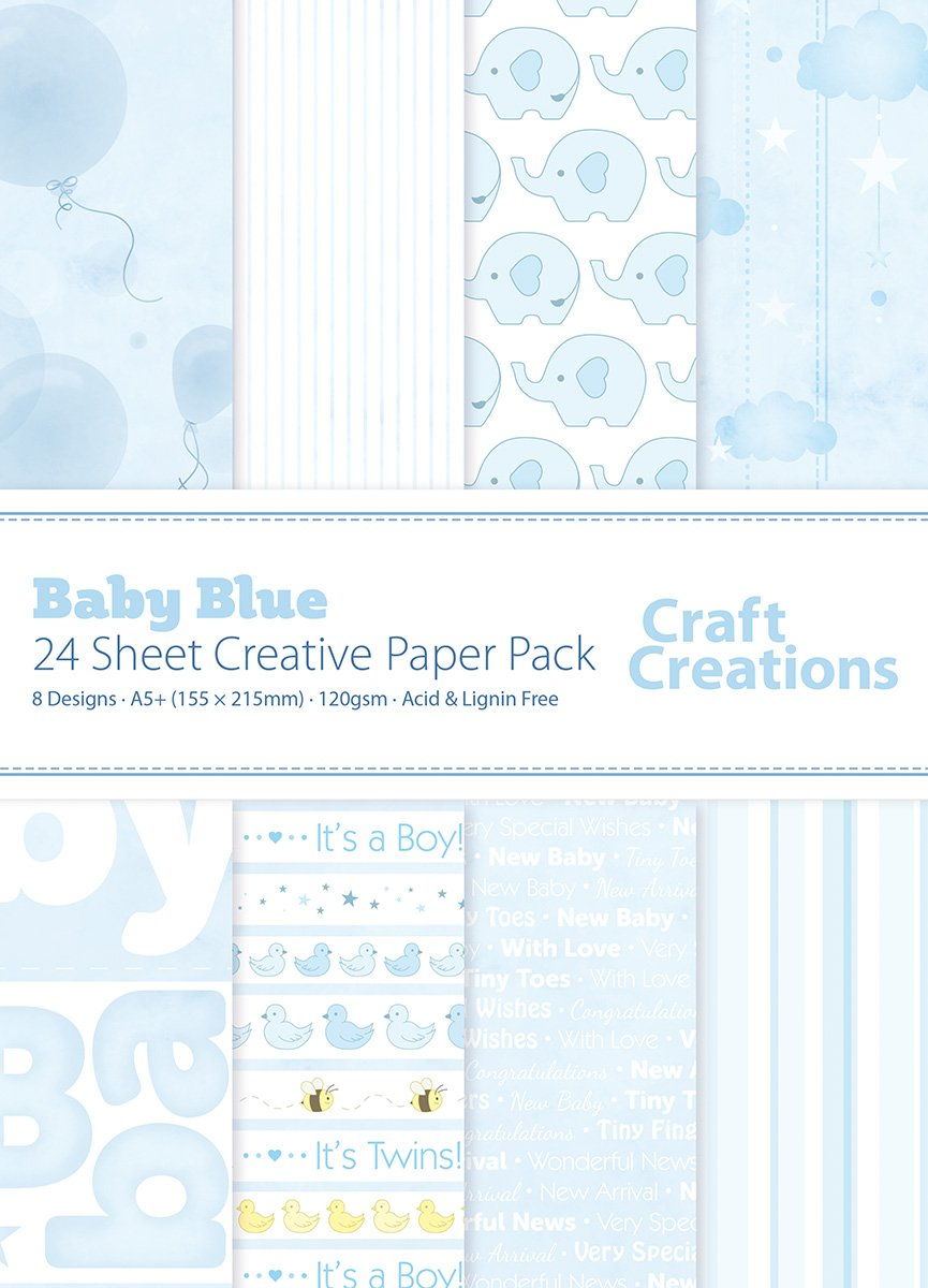 24 Sheets A5+ (155mm x 215mm) Blue Baby Boy New Baby Mix - Craft Creations 120gsm Decorative Scrapbook Backing Paper - Printed Front with Plain White Back - Acid and Lignin Free - For Scrapbooking, Cardmaking and Papercraft Craft Creations Ltd