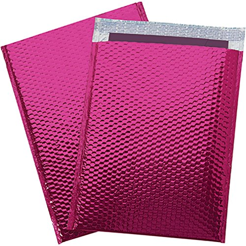 250 #0 Glamour Pink Bright and Shiny Metallic Exterior Padded Bubble Mailers Envelopes Self Sealing Bags 6x10