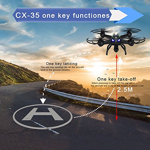 DroneMaster Drone with 720 p HD Camera Super Wide Angle 500M Range 4CH – 6 Axis Gyro RealTime Video Supported Cx35