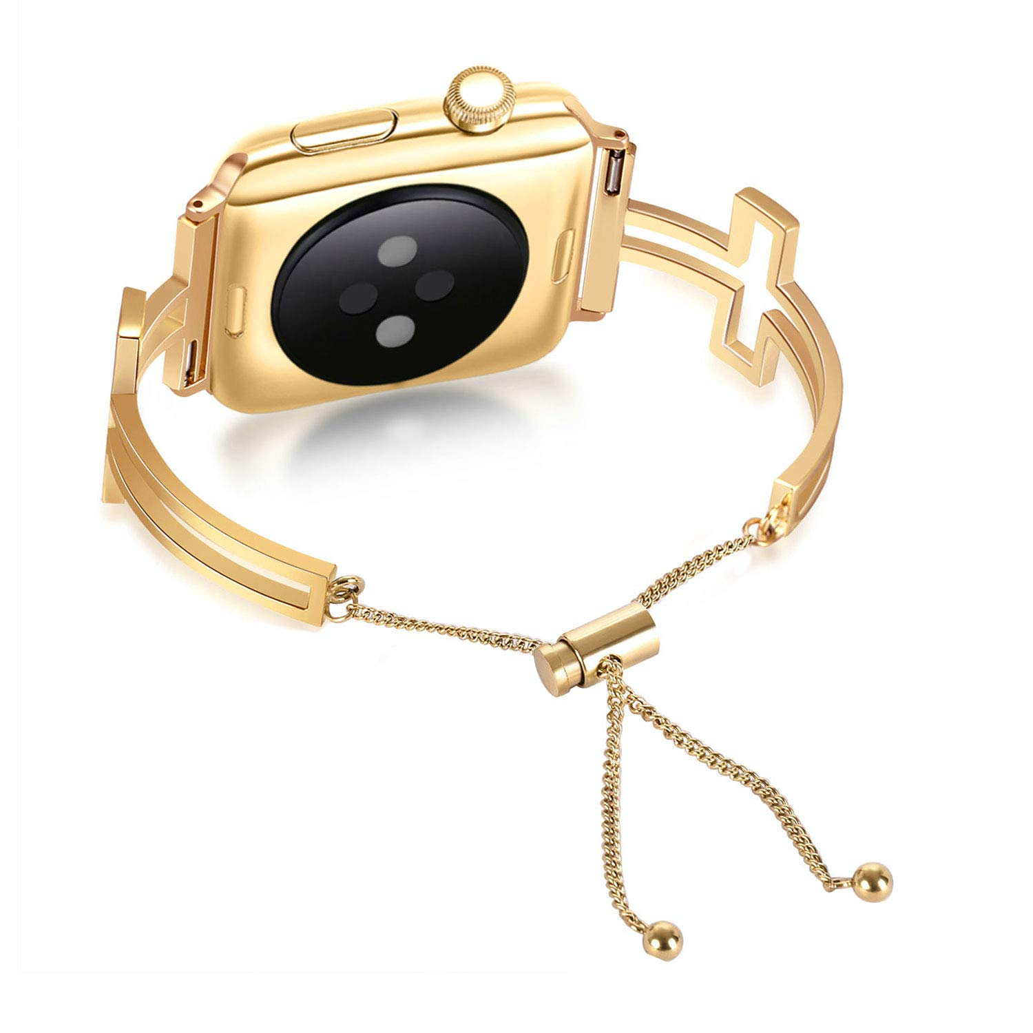 For Apple Watch Strap Bands 38mm 40mm Gold, Adjustable Replacement Smartwatch Accessory Sport Wristband, Jewelry Classic Pendant Tassel Stainless ...