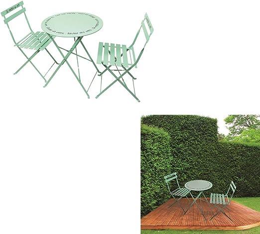 The Home Deco Factory – Juego de 2 mesas de jardín y sillas Verde de Agua, métal-Acier, 60 x 71 x 60 cm: Amazon.es: Juguetes y juegos