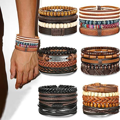 Jstyle 26-28Pcs Braided Leather Bracelet for Men Women Wooden Beaded Cuff Wrap Bracelet Adjustable (Style: B:26Pcs)