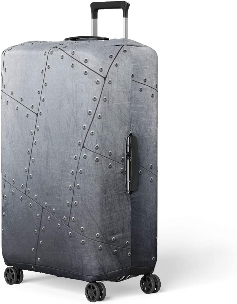 Pinbeam Luggage Cover Silver Steel Metal Gray Industry Iron Wall Panel Travel Suitcase Cover Protector Baggage Case Fits 22-24 inches