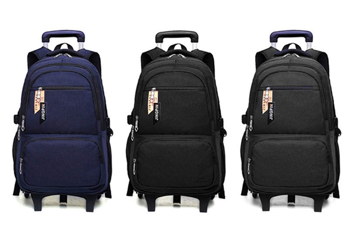 Mochilas Rodante Backpack Maletas con Ruedas - Niños Adultos Unisex Escuela Viaje Nylon Impermeable Carretilla Desmontable Trolley Bolsa Azul 2 Ruedas: ...