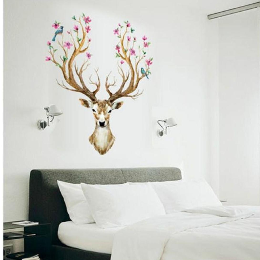 Wall Stickers,Geyou Removable 3D Plum flower deer Wall Sticker For Kids Home Living Room Decor Art Vinyl Mural Decal New (A)