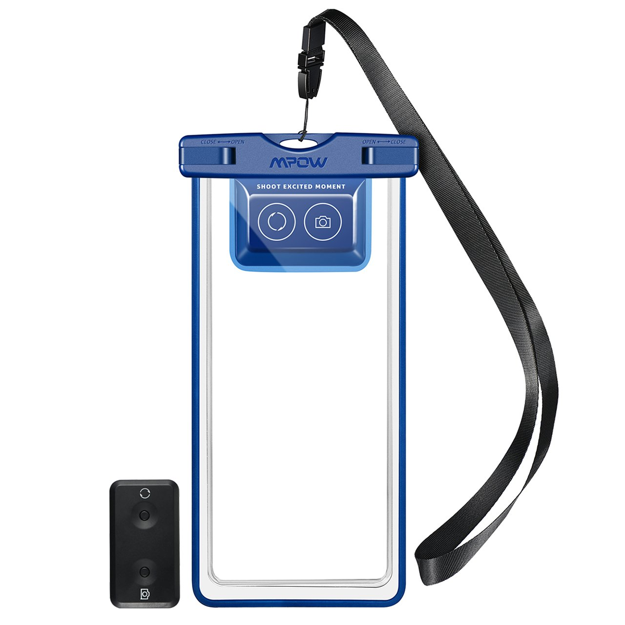 Mpow Waterproof Phone Pouch, IPX8 Waterproof Case, Dry Bag, with Bluetooth Controller for Taking Photos and Videos, Compatible for iPhone X/8/8P//7/6s, Galaxy S9/S9 Plus/S8, Google up to 6.0''