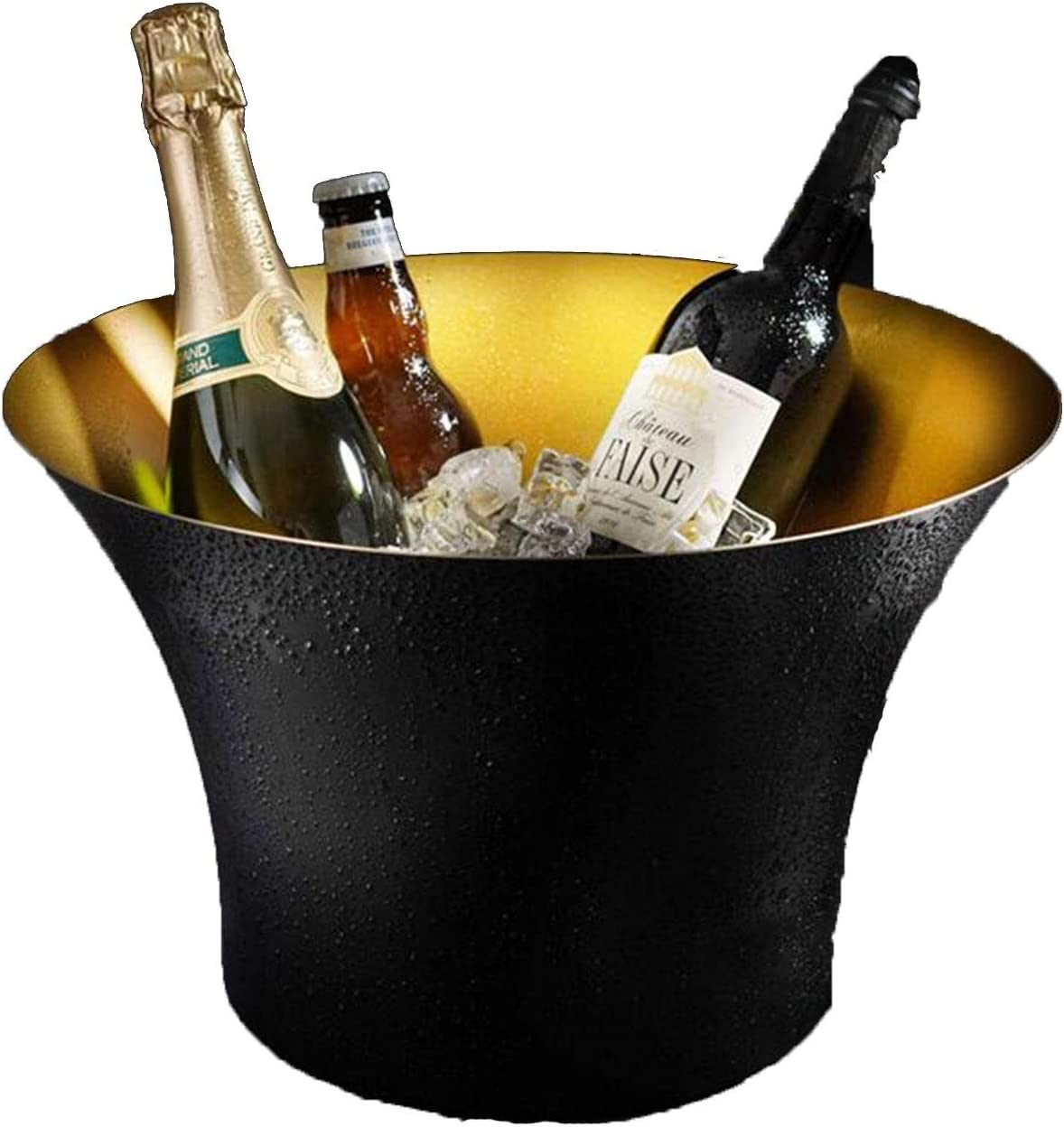LJJOO Cubo de hielo de champagne de vino de acero inoxidable, Luxury Retro Bar Restaurant Utensilios de vino, Decoraciones del gabinete de vino para el hogar, adecuado para fiesta, camping al aire lib