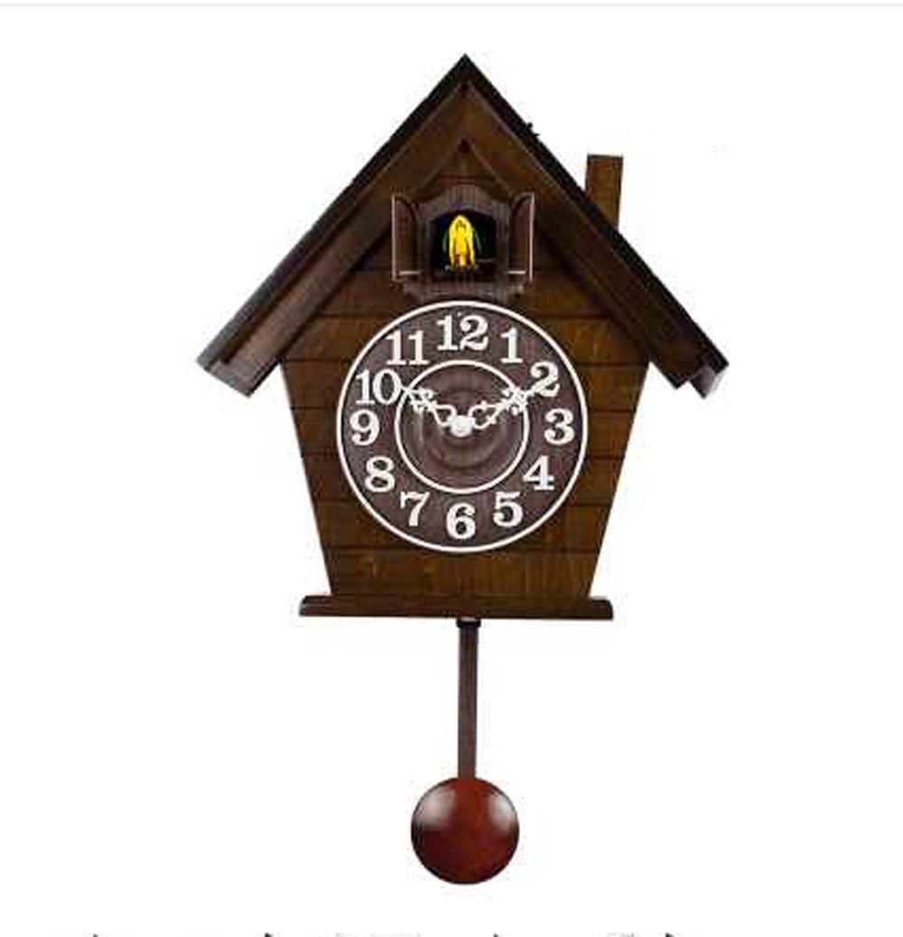 Olici Wall Art Decoration Wood Cuckoo Clock Timekeeping Retro Living Room Children'S Room Garden Bird Cuckoo Clock Table,B