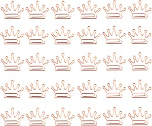 30 Pcs Crown Paper Clips, Creative Rose Gold Paperclips Desk Accessories for Office