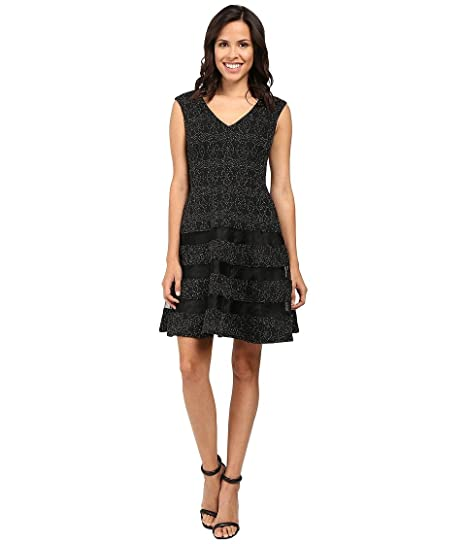 Aidan by Aidan Mattox Womens Stretch Knit Fit and Flare V Neck Cocktail Dress with Cap Sleeve