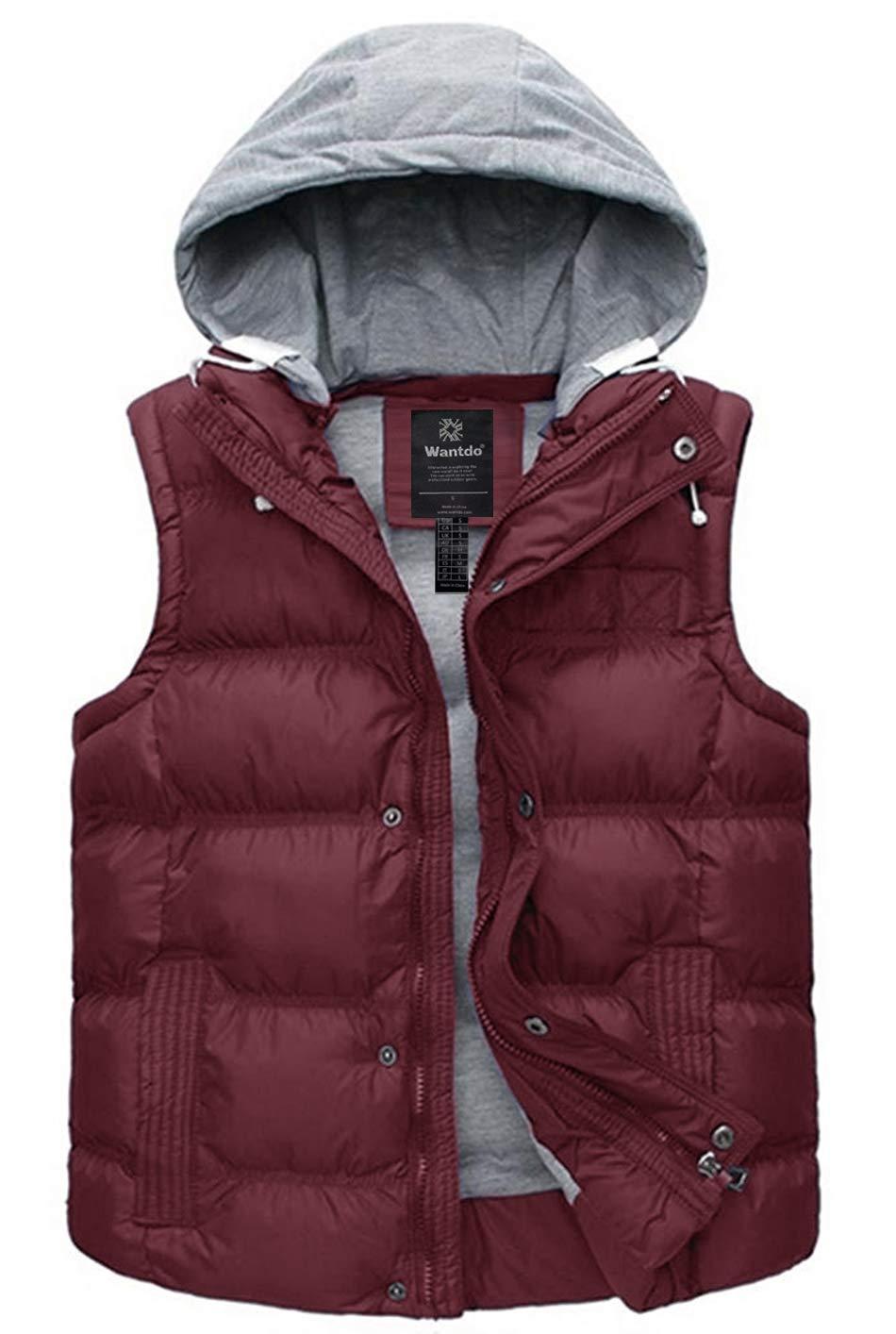 Wantdo Women's Slim Puffer Vest Sleeveless Warm Winter Jacket Wine Red S by Wantdo