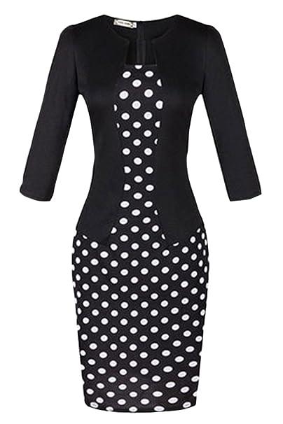 Amazon.com: engood Mujer Elegante Chic Bodycon vestir de una ...