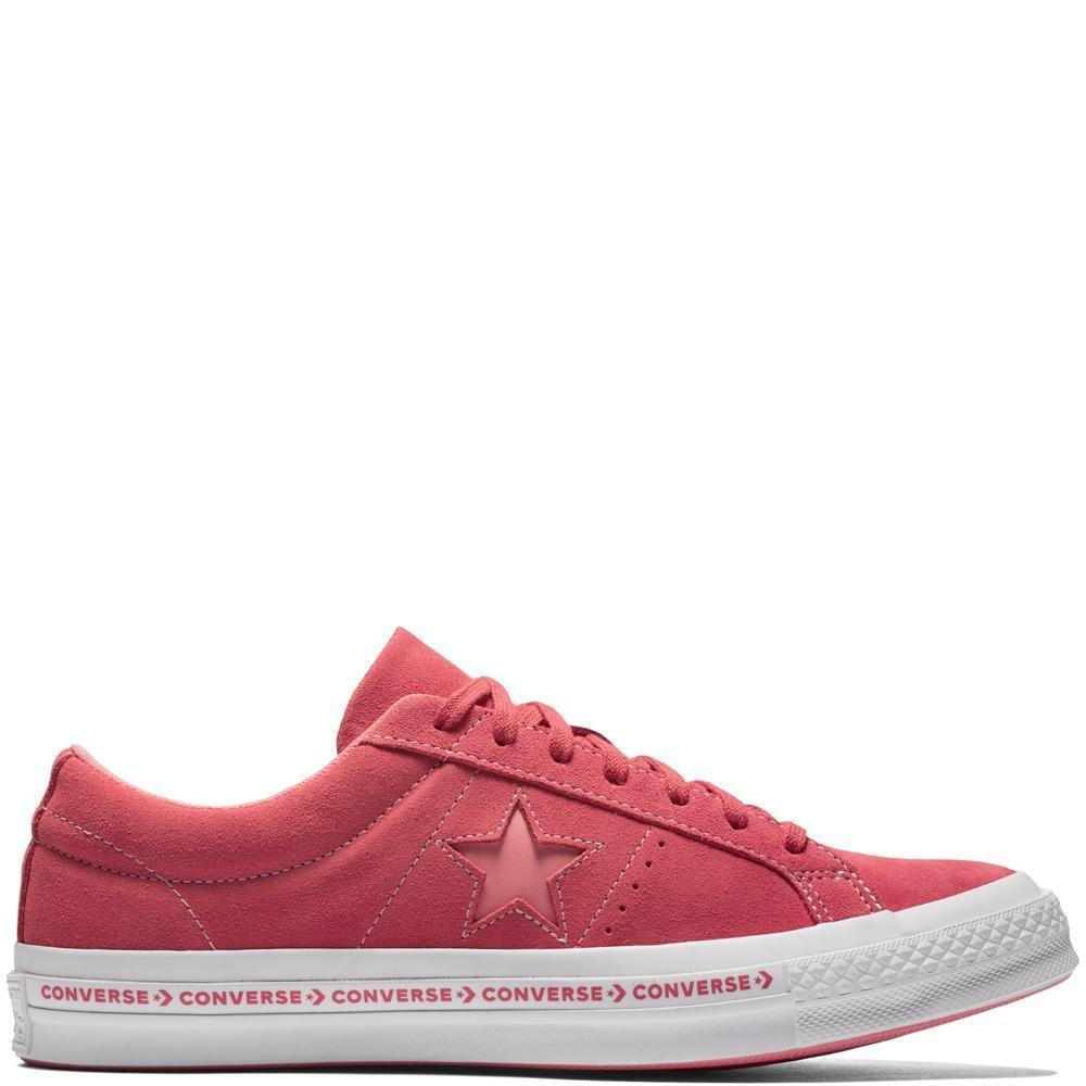 Converse Unisex-Erwachsene Lifestyle One Star OX Suede Fitnessschuhe, Schwarz  43 EU|Pink (Paradise Pink/Geranium Pink 637)