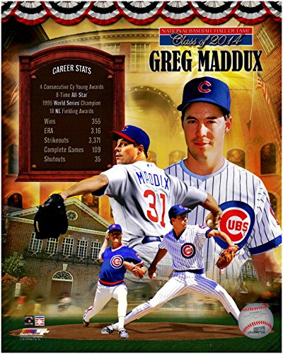 Fame Induction Card - Greg Maddux Hall of Fame Induction Unsigned Licensed Baseball Photo