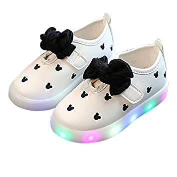 cb6dde846 Ocamo Zapatillas de bebé con LED luminoso transpirable suave lazo princesa  zapatos
