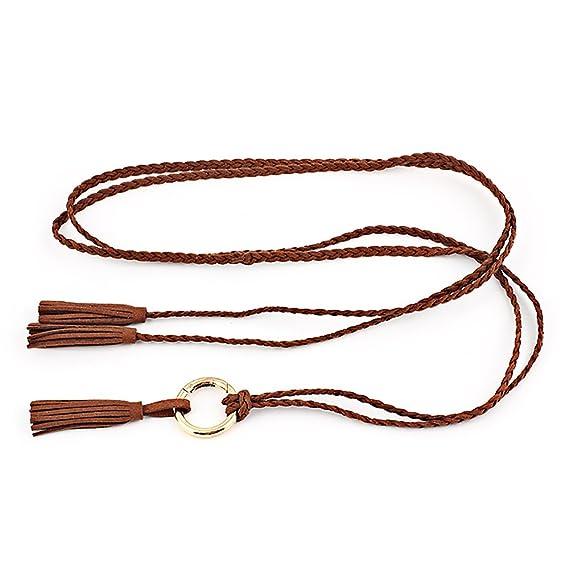 Ya Jin Moda mujer cinturón trenzado fino para Bowknot vestido de cadena de  la cintura con borla  Amazon.es  Ropa y accesorios e134c29afafd