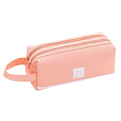 Gotian Creative Pencil Case Students Kids Brief Style Pure Color Large Capacity Pen Pencil Bag Stationery (Pink)