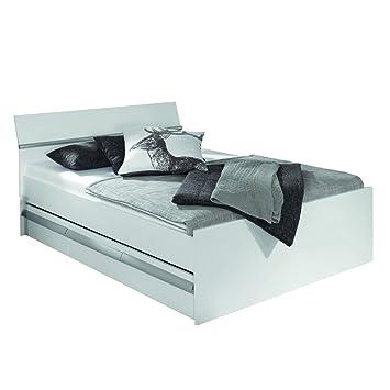 Rauch Bett mit Schubladen 90x20 Weiß mit Absetzungen Alufarben Nachbildung