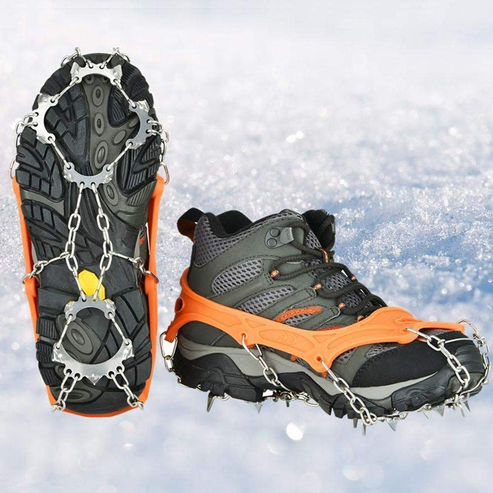 Crampons Universal Flexible Anti-Slip Ice Grips Snow Traction Cleats Ice Spikes Crampon with Stainless Steel Chain for Climbing Hiking(Black L,13teeth) uelfbaby