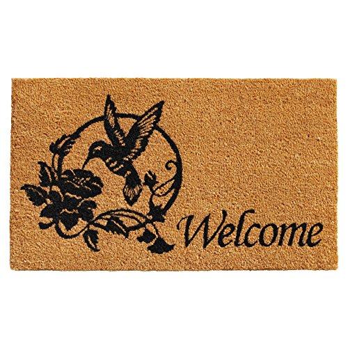 "Calloway Mills 101931729 Hummingbird Welcome Doormat, 17"" x 29"" x 0.60"", Natural, Black"