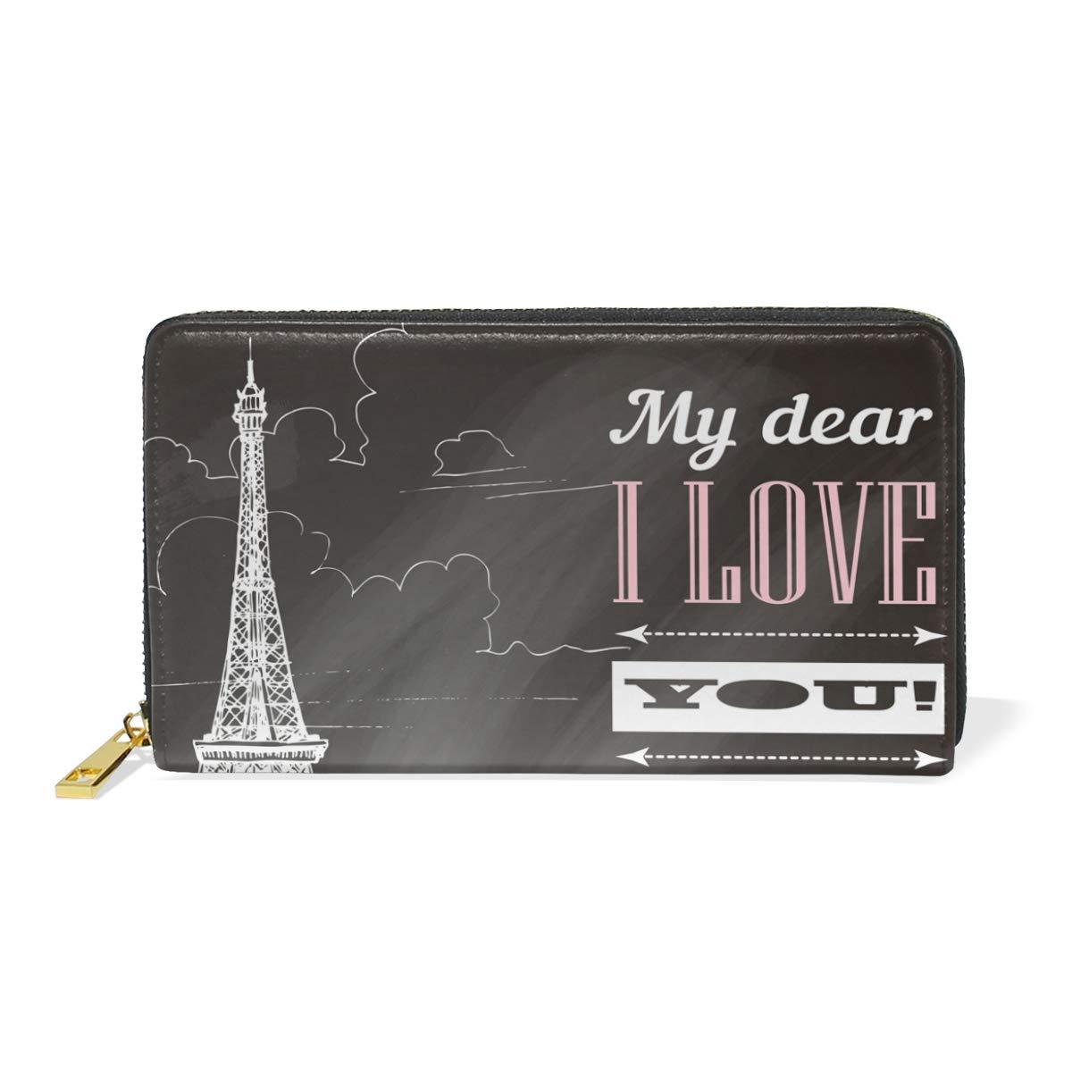 Show color 1 Women Genuine Leather Wallet Creative Paris Tower Zipper Purse Girl Phone Clutch