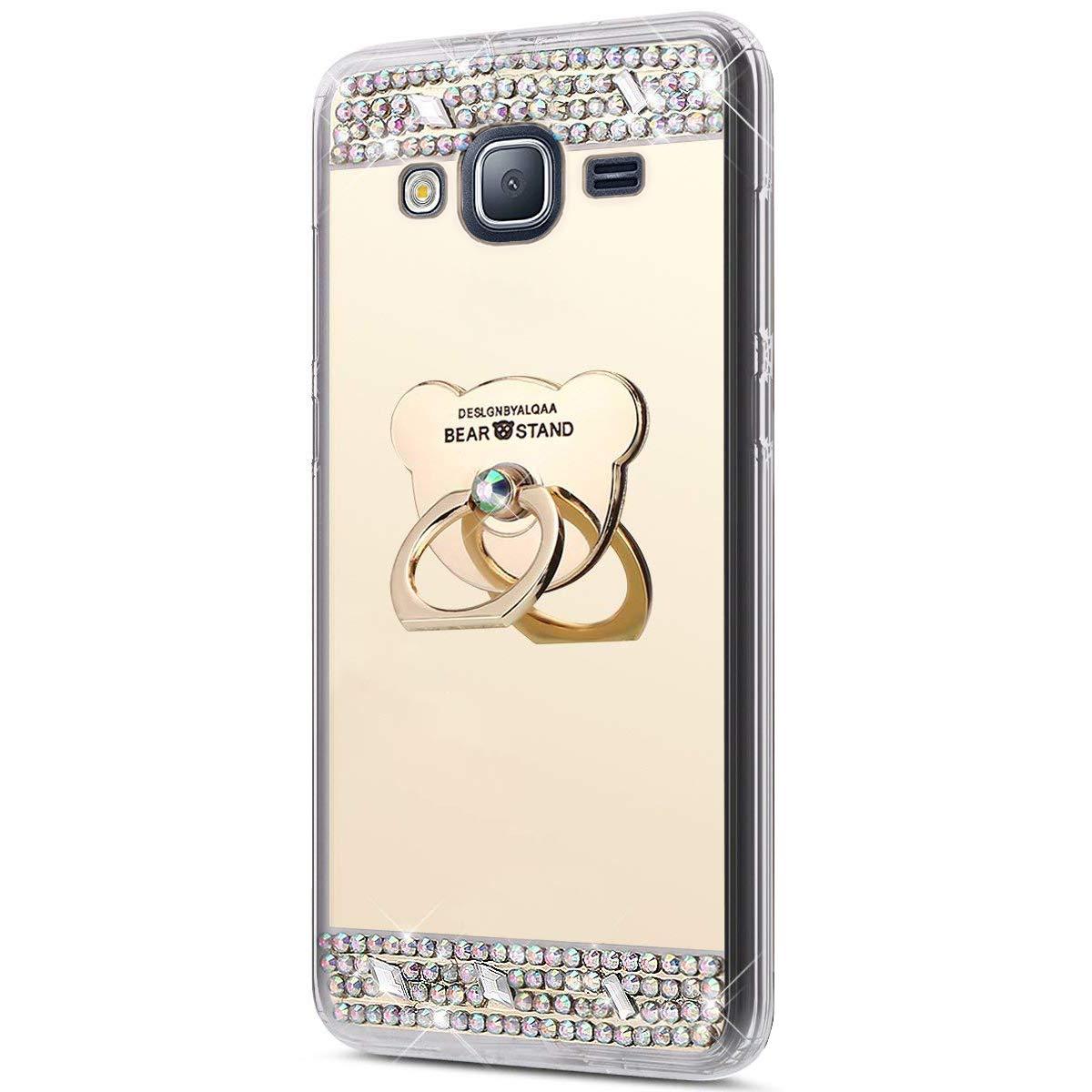 Galaxy J3 2016 Hü lle,Surakey Schutzhü lle fü r Samsung Galaxy J3 2016 Silikon Handyhü lle Spiegel Hü lle Bling Strass TPU Handyhü lle Weiche TPU Telefon-Kasten Mirror Case fü r Samsung Galaxy J3 2016, Gold ELE00161MD