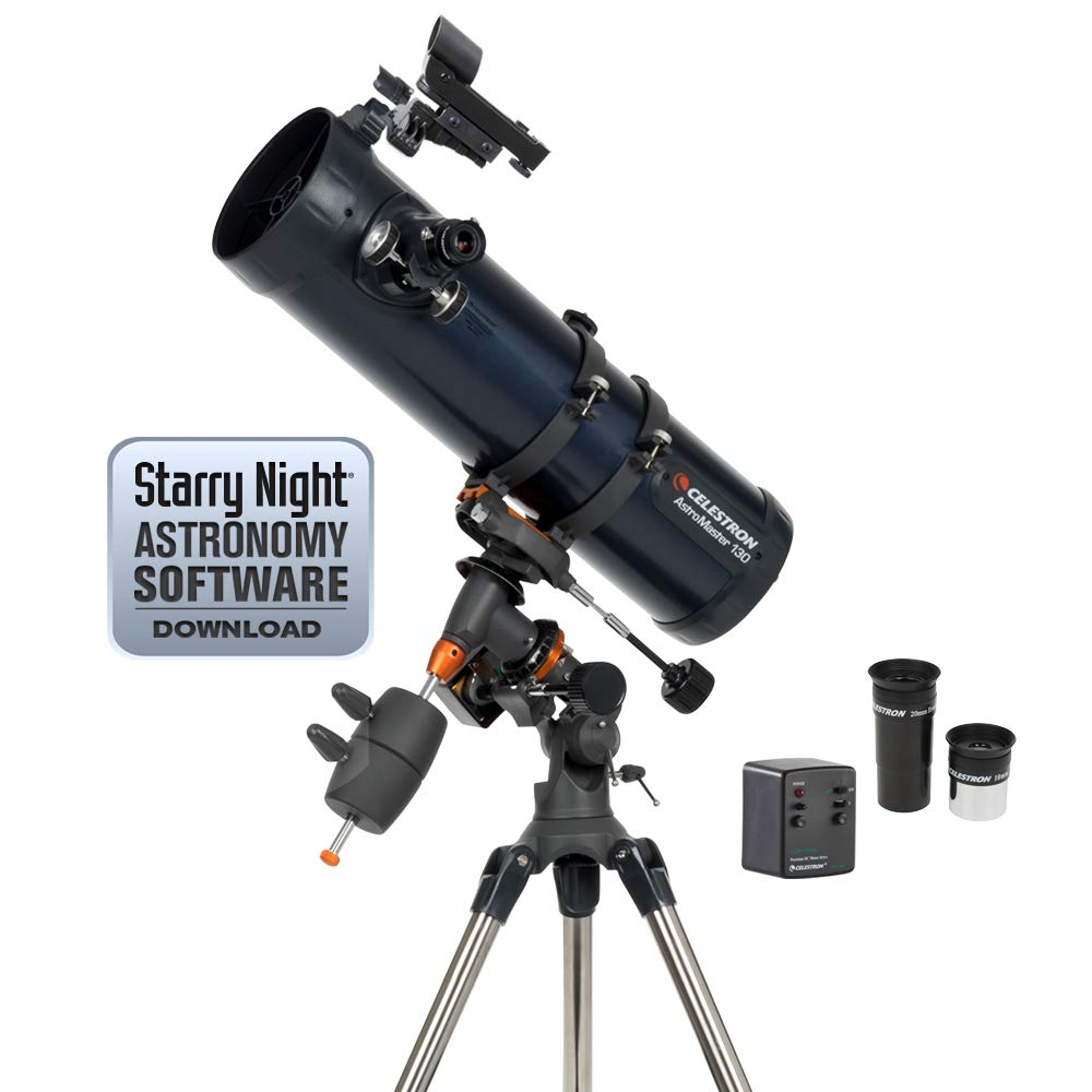 Celestron - AstroMaster 130EQ-MD Newtonian Telescope - Reflector Telescope for Beginners - Fully-Coated Glass Optics - Adjustable-Height Tripod - BONUS Astronomy Software Package by Celestron