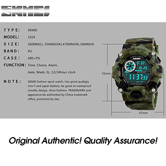 Amazon.com: Boys Digital Watch Camouflage Green Sports Military Style Waterproof Stopwatch Alarm LED Back-Light Waterproof Wristwatch: Watches