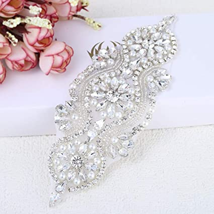 Handmade beaded ivory pearls rhinestone applique pieces for dress crystal  (silver)  Amazon.co.uk  Kitchen   Home 940645a1e772