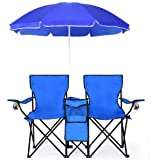 Goplus Double Folding Picnic Chairs w/Umbrella Mini Table Beverage Holder Carrying Bag for Beach Patio Pool Park Outdoor Port