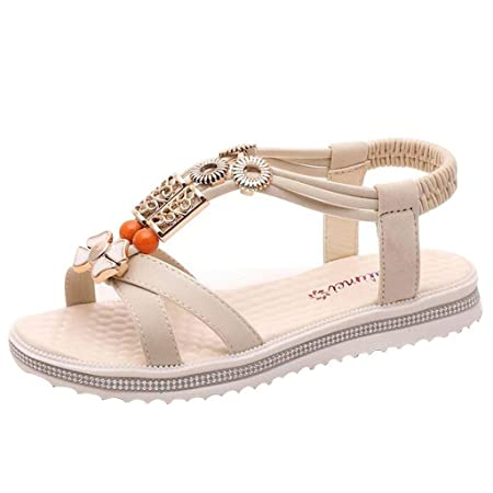 7c336b9b7fbe7 HhGold Women s Bohemian Beaded Strap Beach Sandals (Color   Beige ...